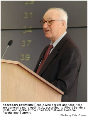 PHOTO: Bandura speaking at the Third International Positive Psychology Summit