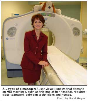 A Jewell of a manager: Susan Jewell knows that demand on MRI machines, such as this one at her hospital, requires close teamwork between technicians and nurses.